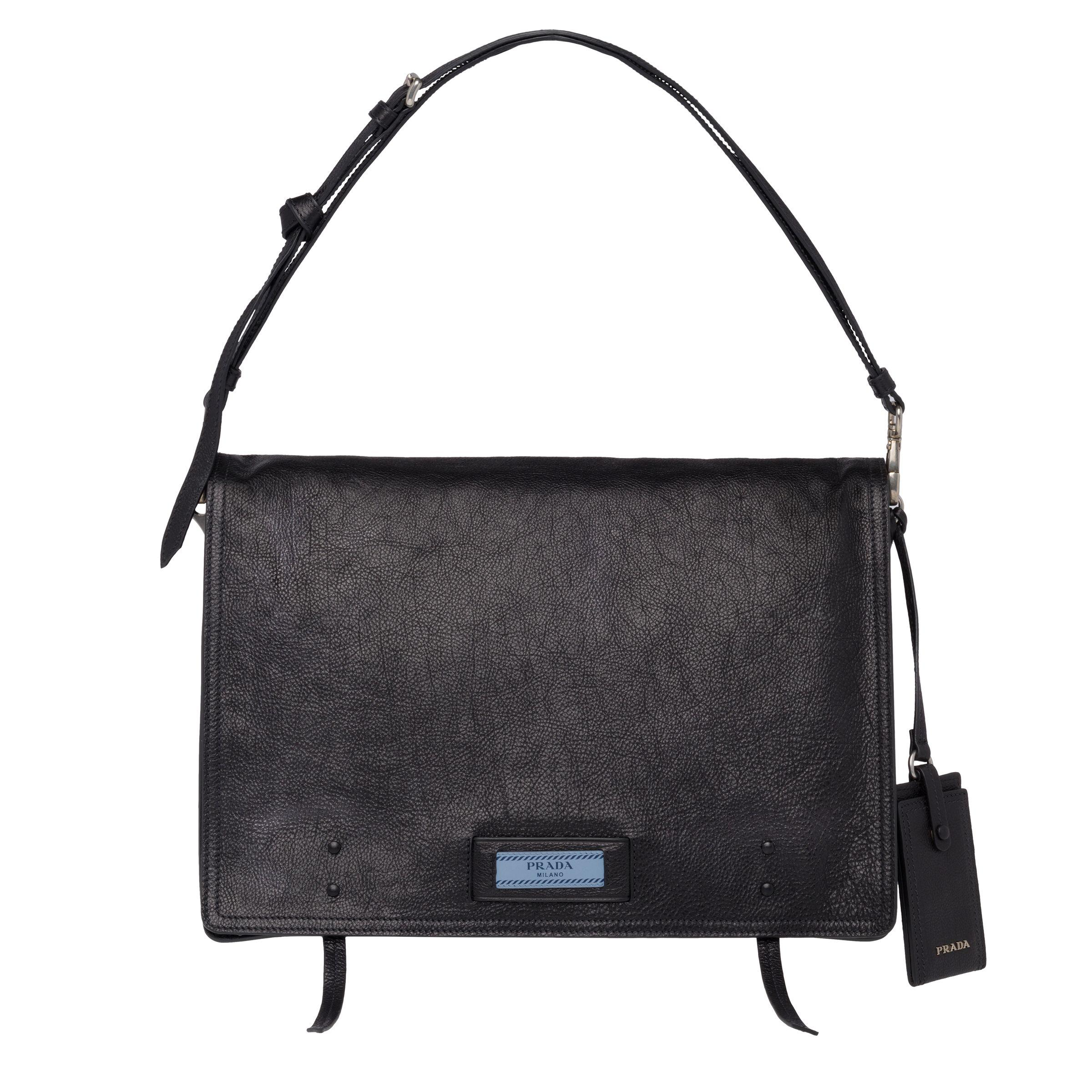 10a2c8c3c86f89 Prada - Black Etiquette Leather Shoulder Bag - Lyst. View fullscreen