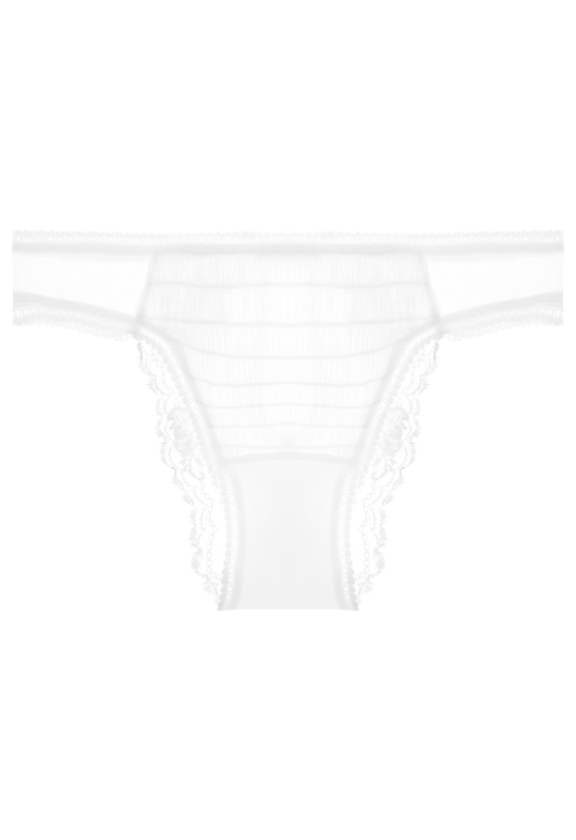 3943d3a64fab4 La Perla. Women's Lapis Lace Off-white Leavers Lace Brazilian Brief With Tulle  Ruffle