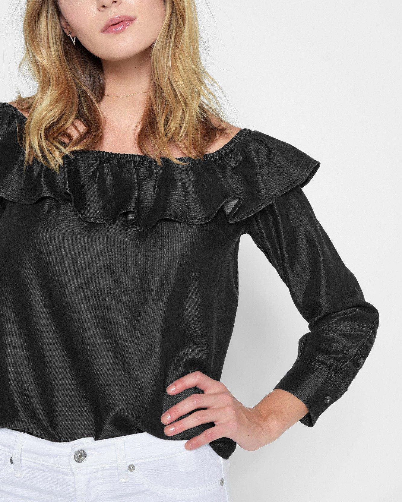 8dbb861966e Lyst - 7 For All Mankind Long Sleeve Ruffled Off Shoulder Top in Black