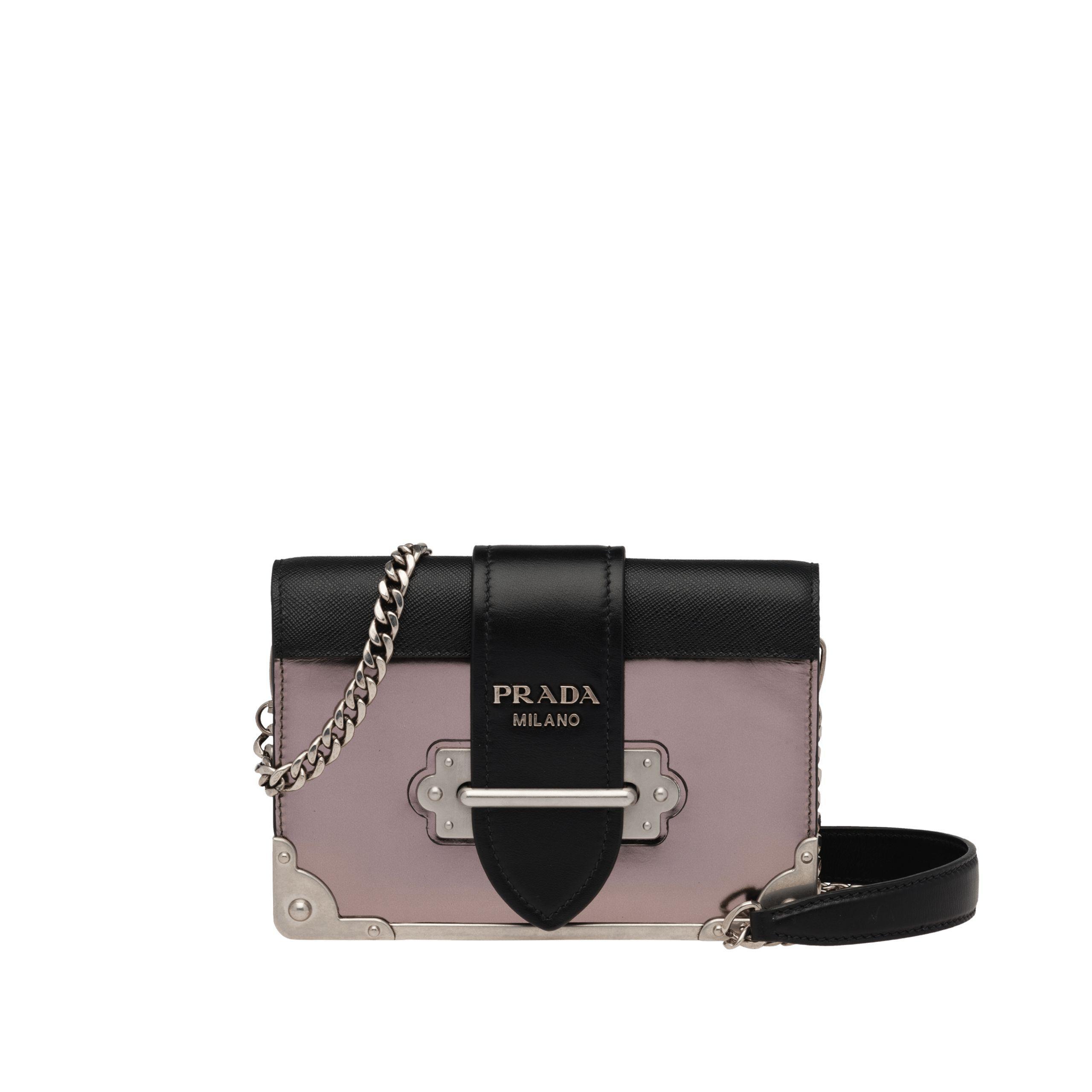 1d81756524d8 Lyst - Prada Cahier Leather Shoulder Bag in Black