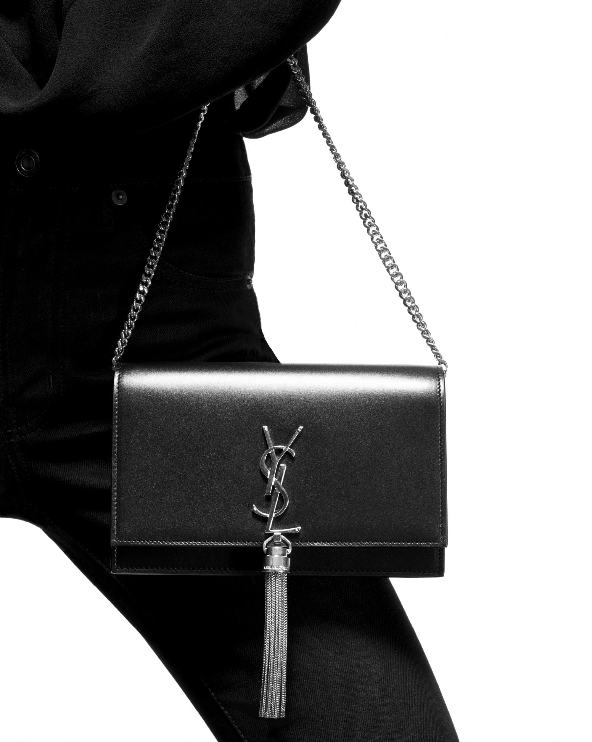 da98a744d54a Lyst - Saint Laurent Kate Chain Wallet in Black