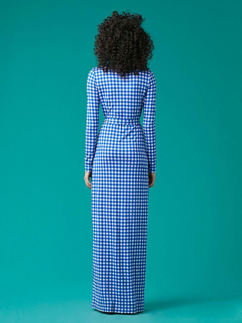 Diane Von Furstenberg New Julian Long Banded Silk Jersey Wrap Dress Blue Lyst
