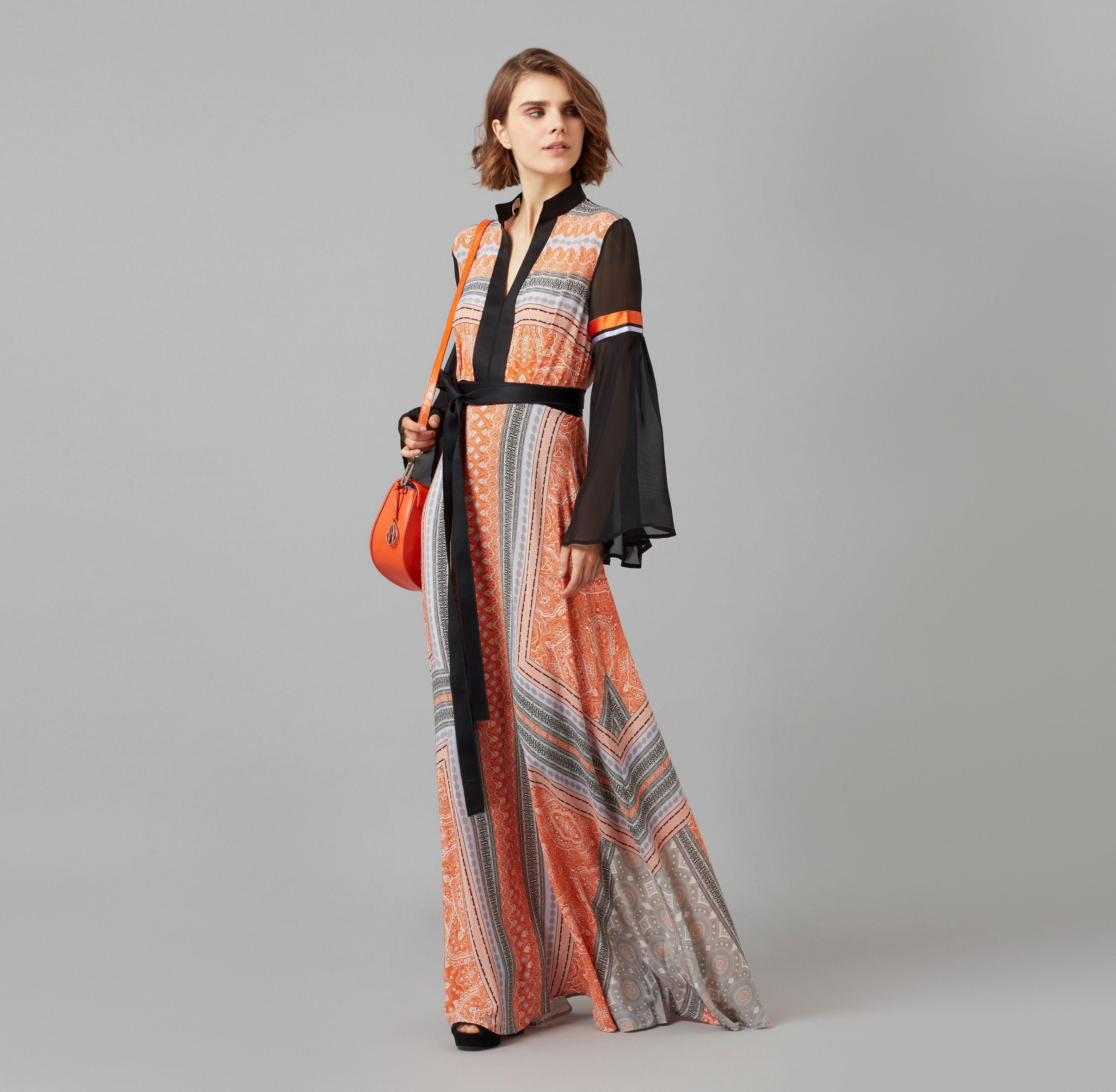 87eaebf8ed71 Amanda Wakeley Clementine & Lilac Printed Maxi Dress - Lyst