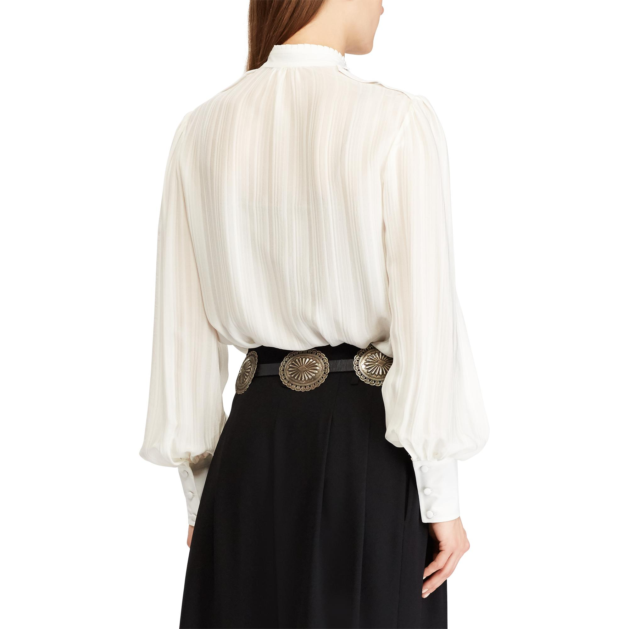 489343d94961f0 Lyst - Polo Ralph Lauren Jacquard-stripe Silk Blouse in White