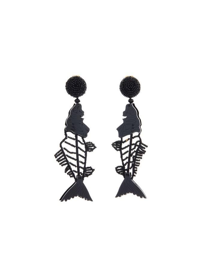 Oscar De La Renta scribble beaded fish earrings - Black MDX5qgV
