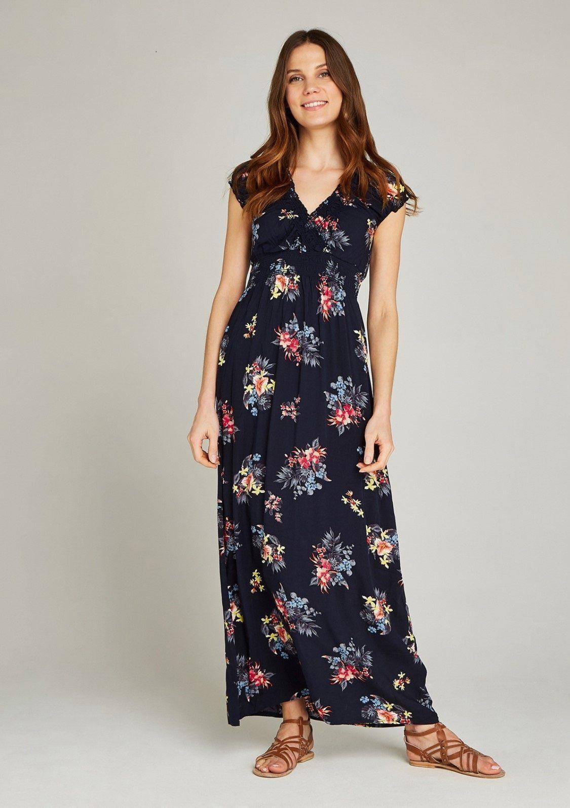 In Bunches Print Mit Maxikleid Maxi Und Taille Damen Smockdetails An »tropical Dress« Ausschnitt Blau xdBoerC