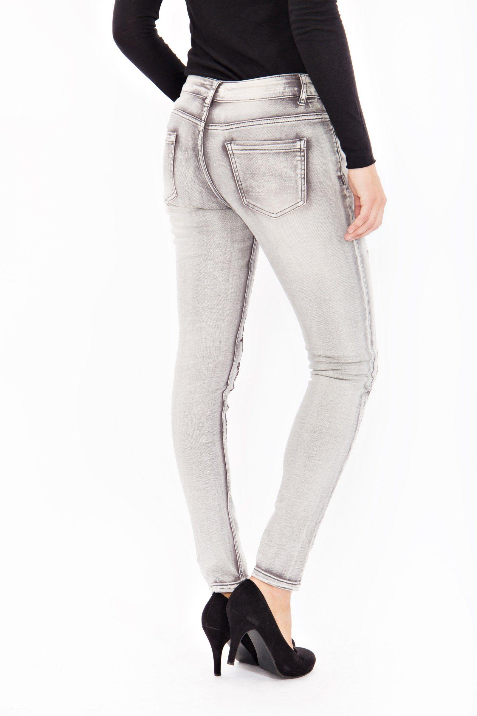 Blue Monkey Denim Skinny-fit-Jeans Honey 8081 in Grau BC5o7
