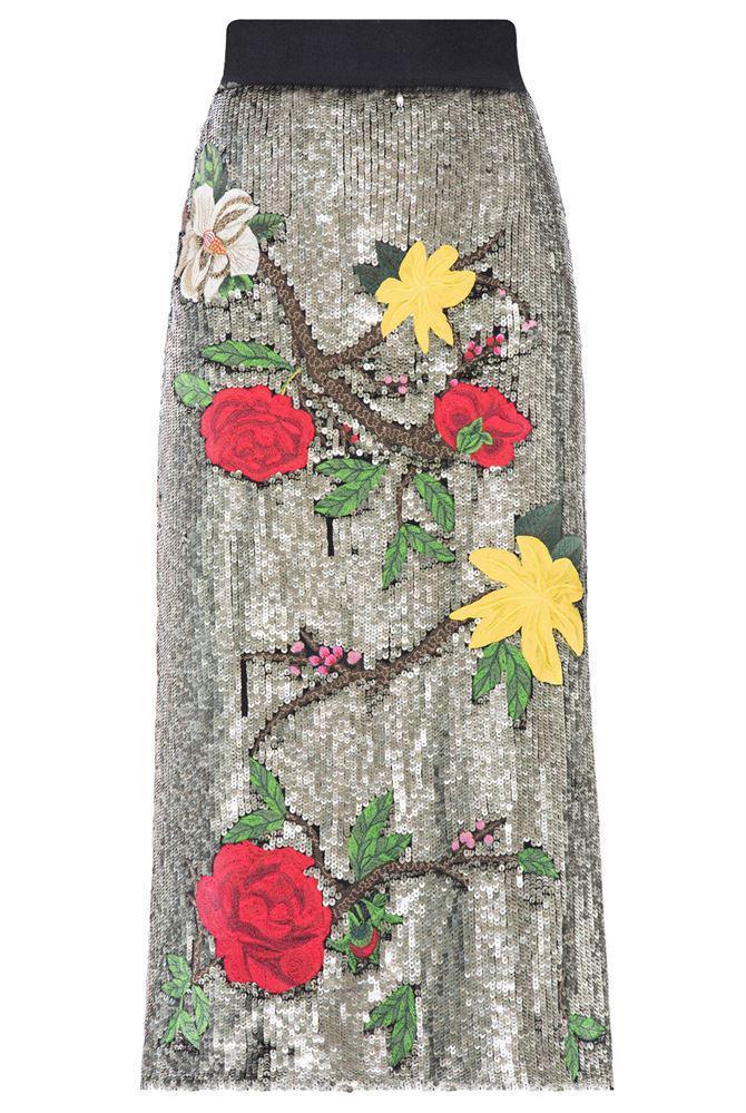 fb72c798f4dd Alice + Olivia Ella Embellished Straight Midi Skirt - Lyst