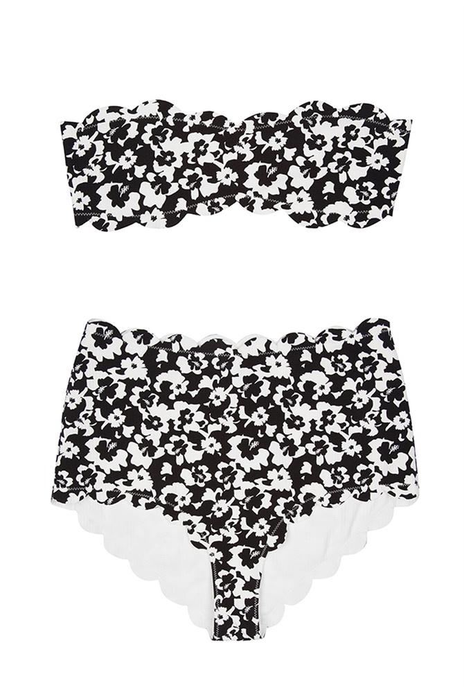 cb2fd2bc4856 Marysia Swim Santa Monica Bandeau Scallop Bikini Black Hibiscus in ...