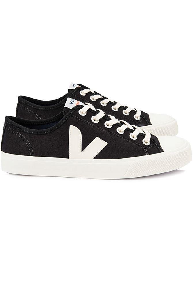 Veja Canvas White V Sneakers in Black White f (Black)