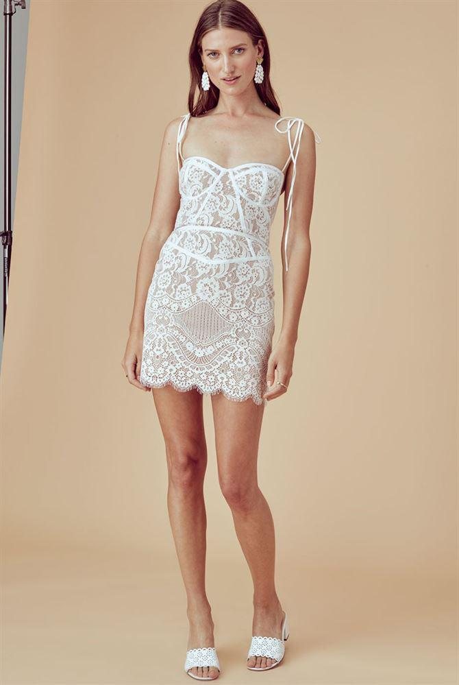 Tati Lace Corset Dress White