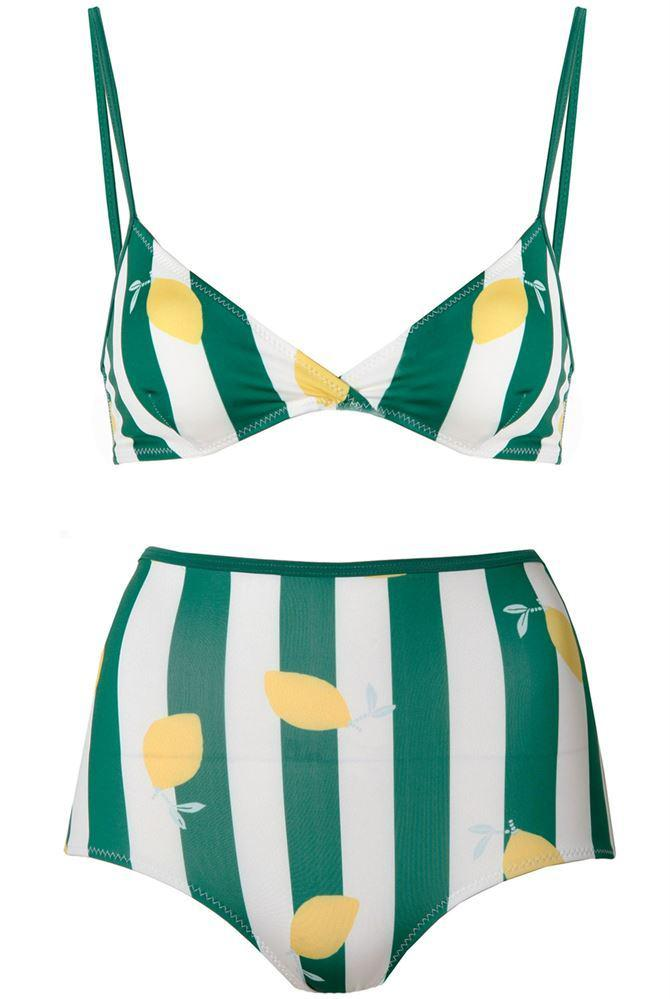 e9d5f64877 Lyst - Solid & Striped The Brigitte Bikini Bottom In Lemons in Green