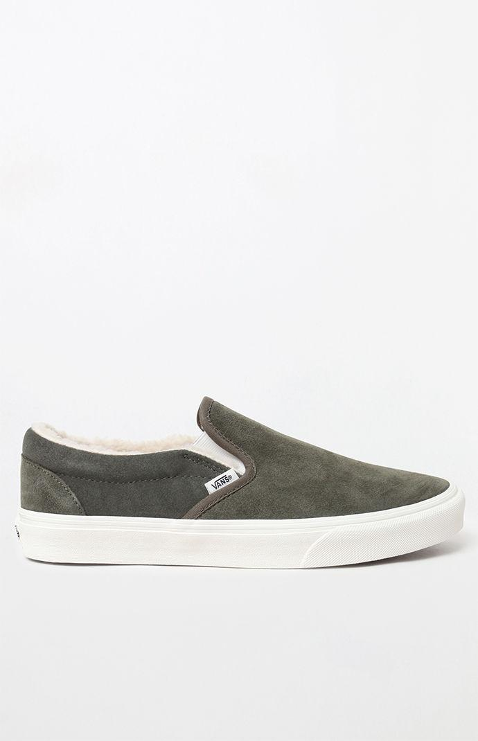 59d44ac4996dc8 Lyst - Vans Sherpa Suede Slip-on Shoes in Green for Men