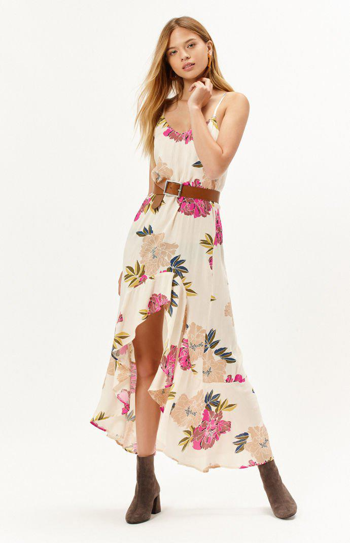 Billabong Womens Kick Twist Floral Print Maxi Skirt