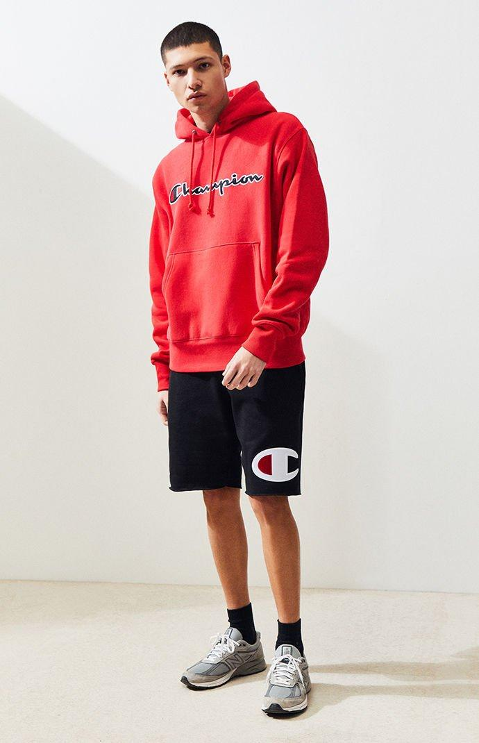 aca2279cd95d Champion - Red Reverse Weave Chenille Script Pullover Hoodie for Men -  Lyst. View fullscreen