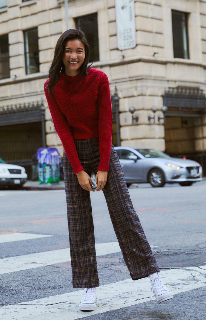 3391ed536dd Lyst - Kendall + Kylie Rachel Mock Neck Sweater in Red