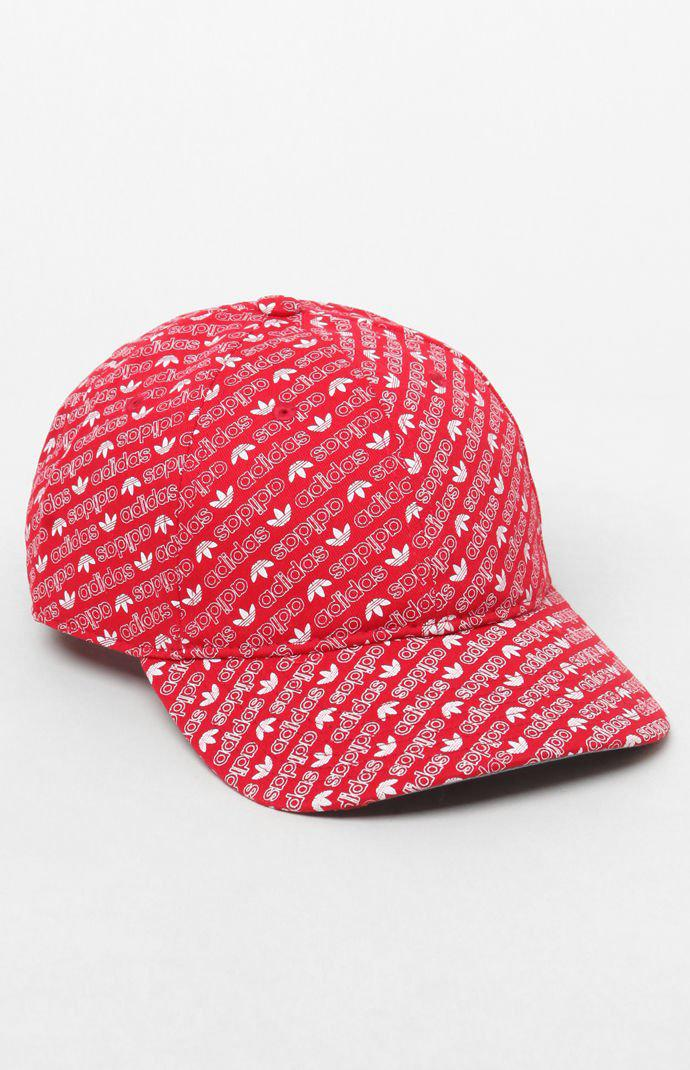 14ba1faff79 Lyst - adidas All Over Print Red Strapback Dad Hat in Red for Men