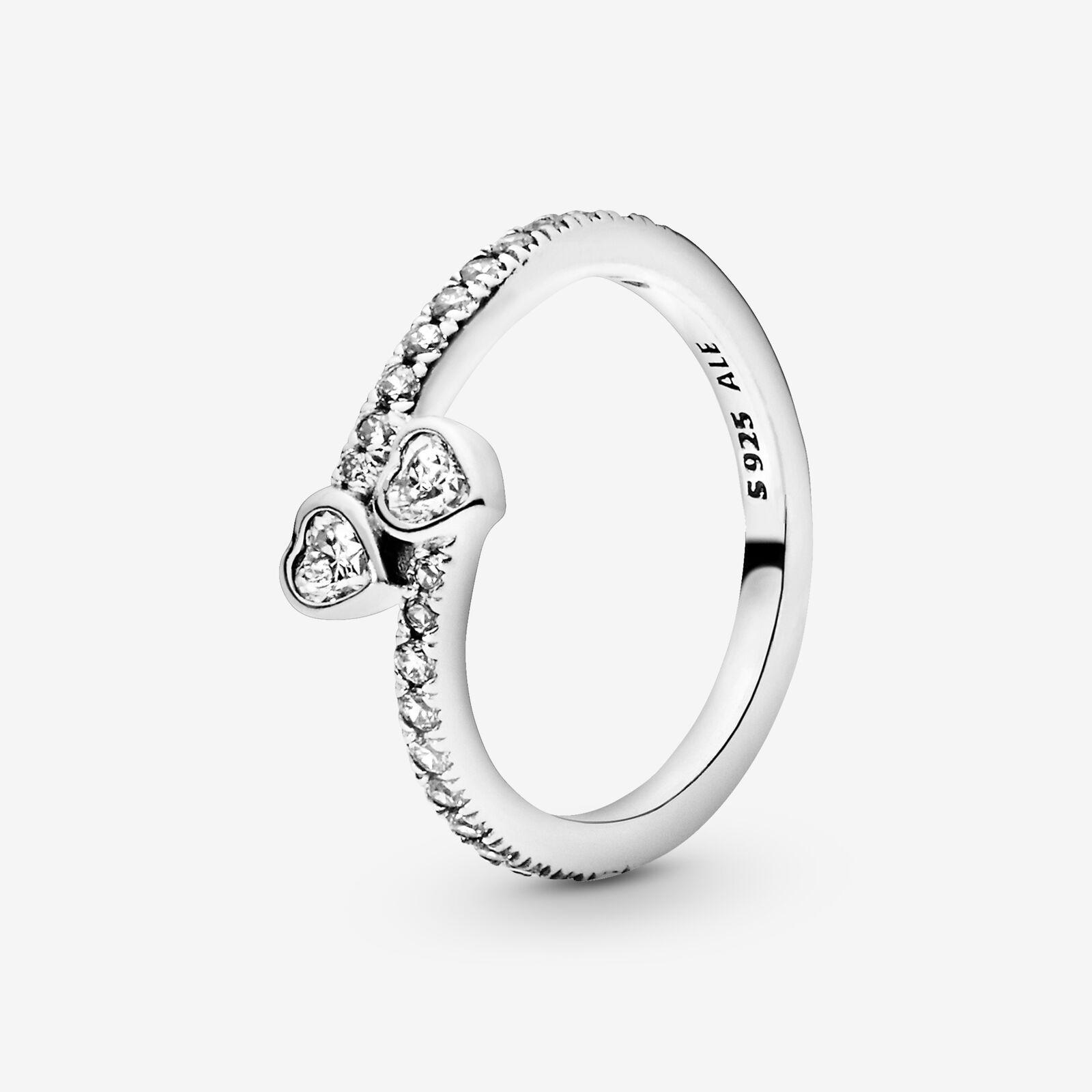 PANDORA Two Sparkling Hearts Ring in Metallic - Lyst