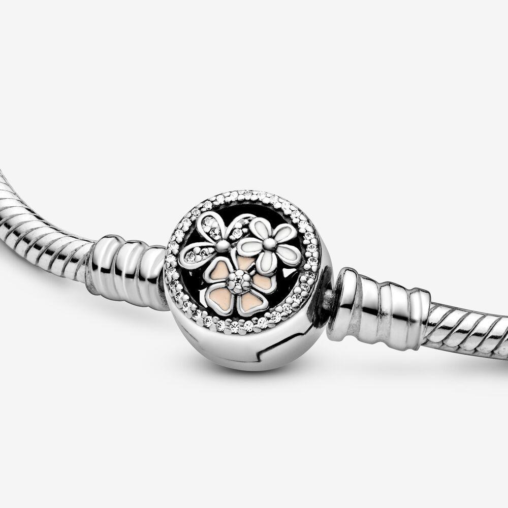 Pandora Moments Flower Clasp Snake Chain Bracelet In Metallic Lyst