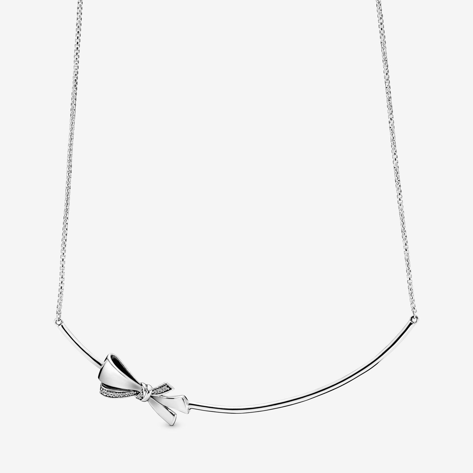 Pandora Sparkling Bow Necklace In Metallic Lyst