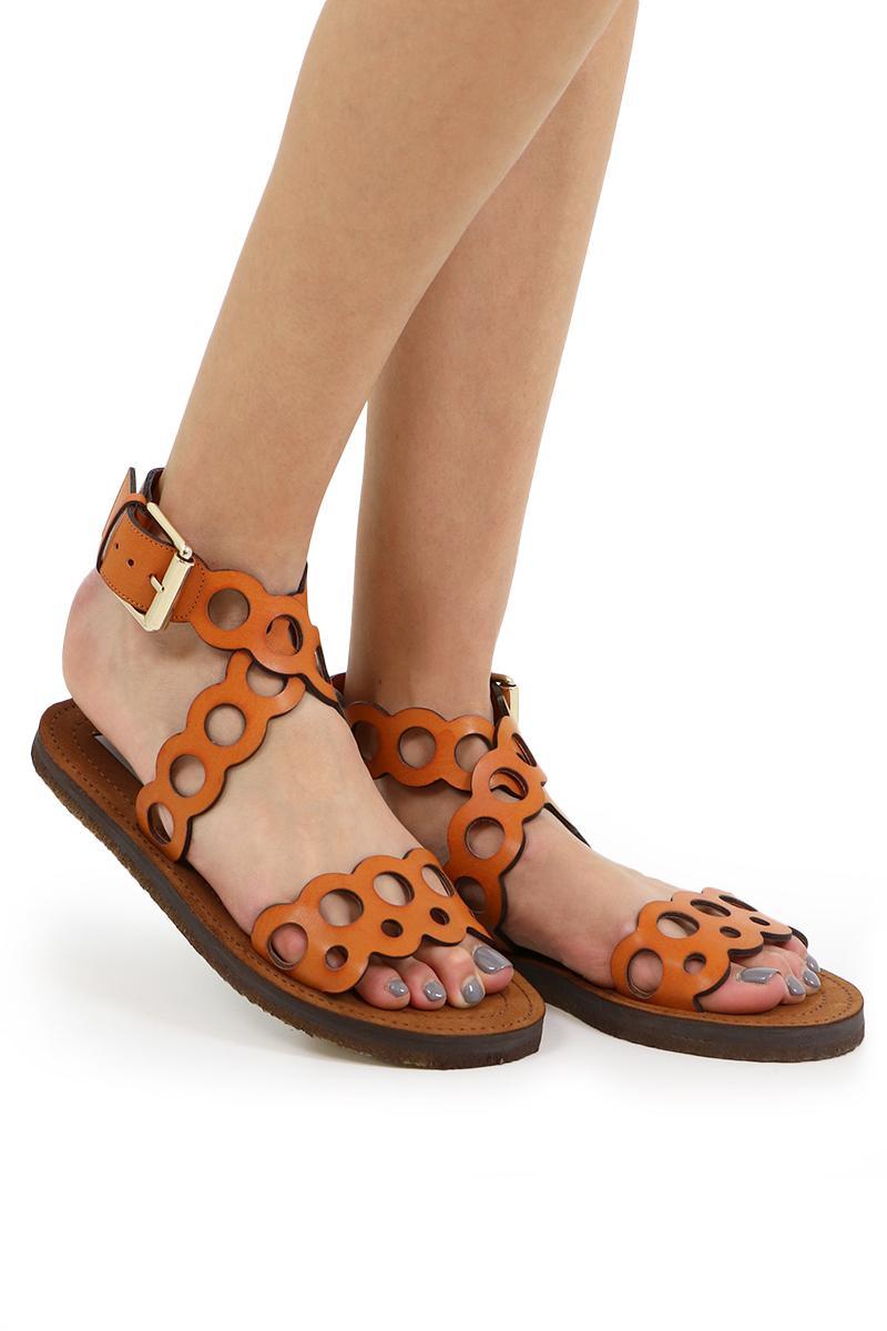 062b2cc603655a Lyst - Stella McCartney Burnt Orange Laser Cut Sandal in Brown