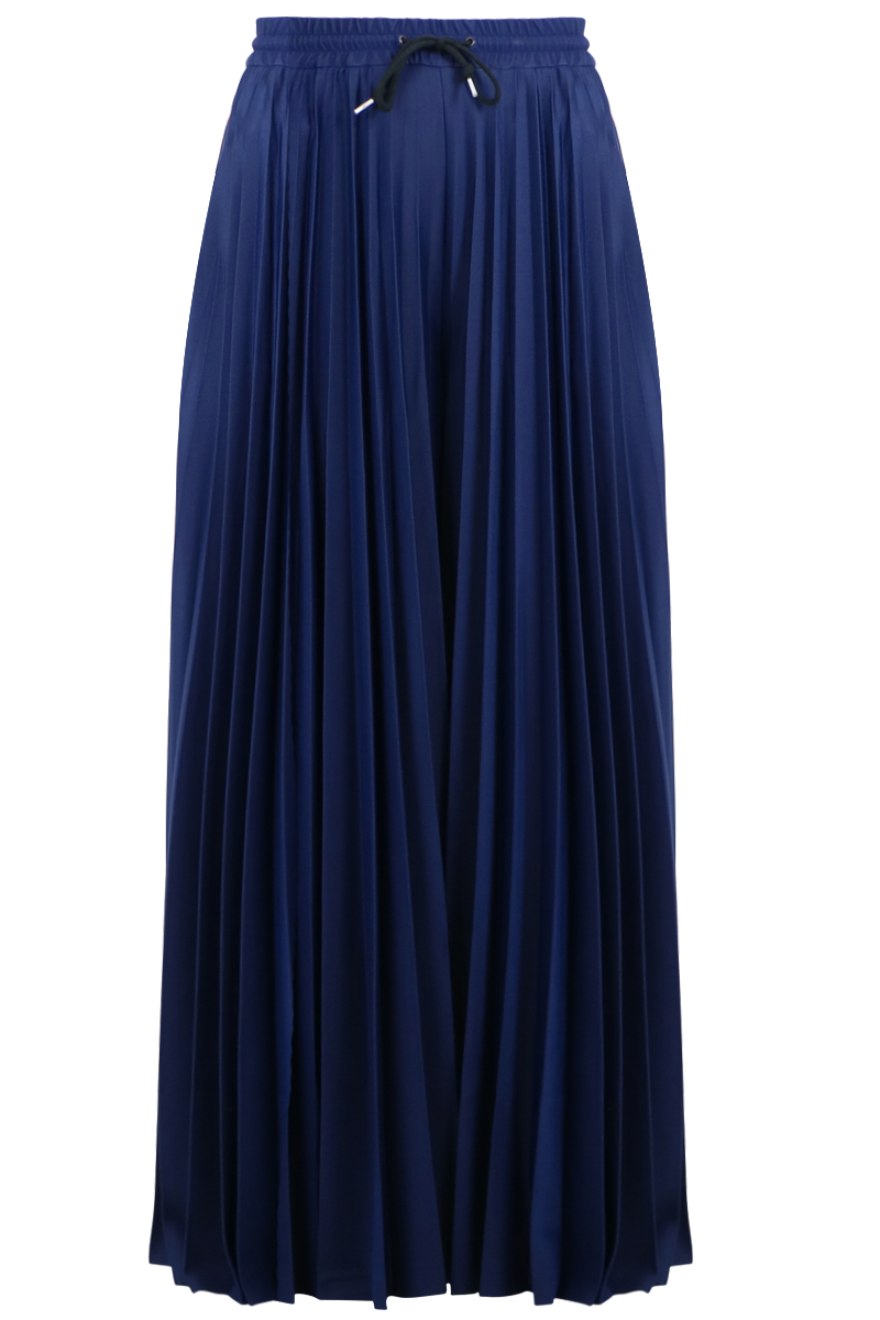 Lyst Msgm Pleated Palazzo Pants Navy Red Light Blue In Blue