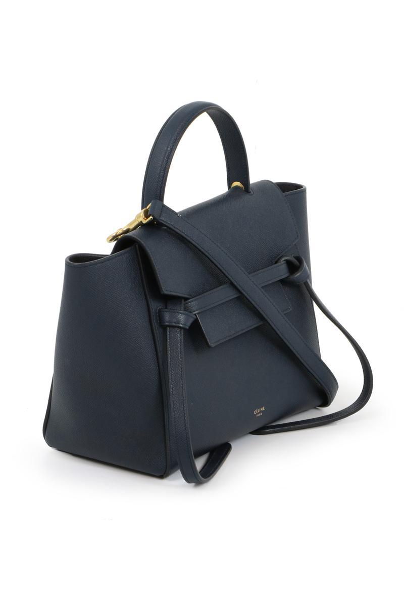 Celine Leather Micro Belt Bag Dark Navy In Blue Lyst
