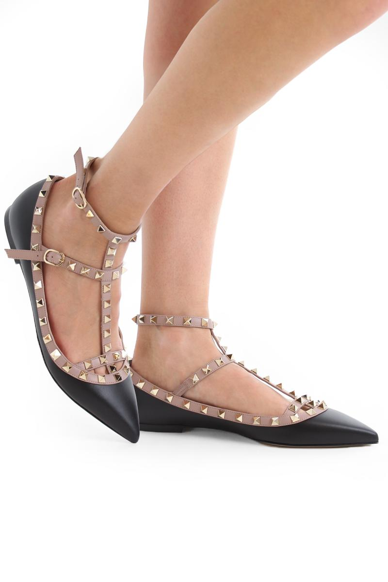 Valentino Leather Rockstud Cage Flats in Ruthenium Black (Black) - Lyst