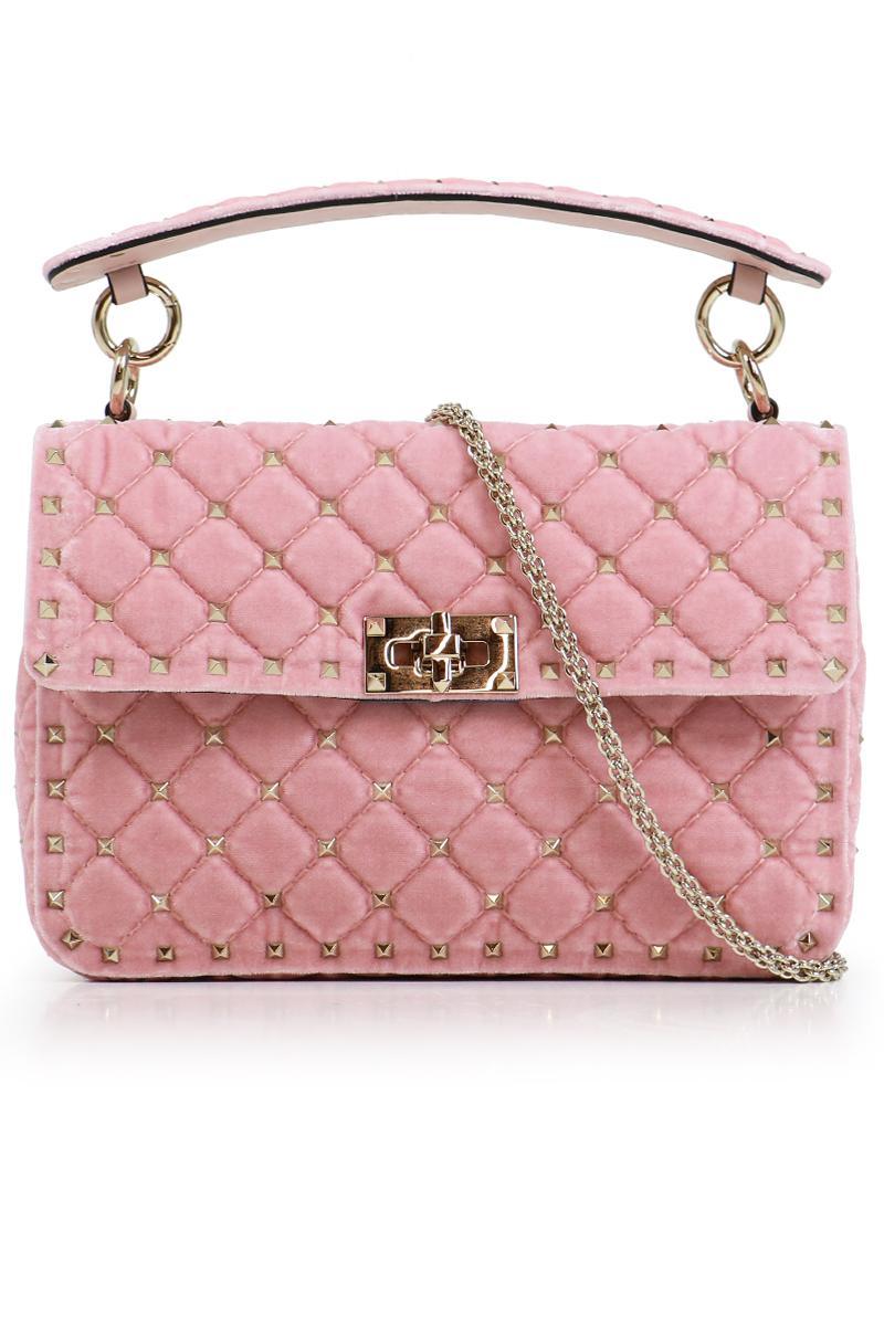 Rockstud Spike Medium Shoulder Bag in Water Rose Velvet Valentino 3dO6hZ4dS