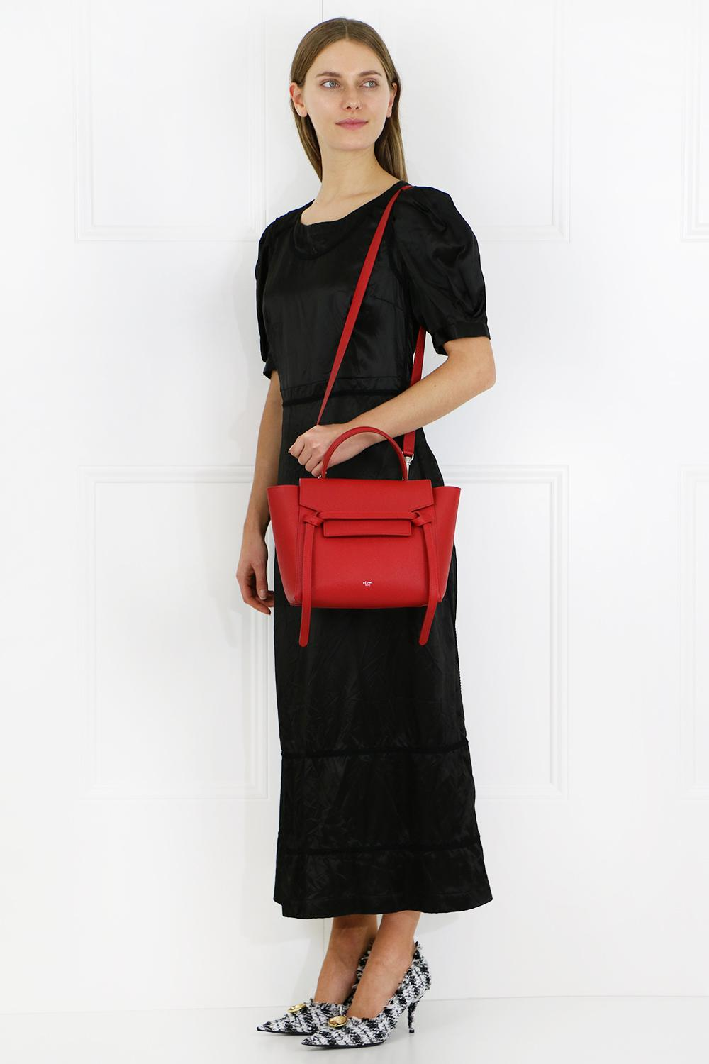Celine Leather Micro Belt Bag Bright Red Lyst