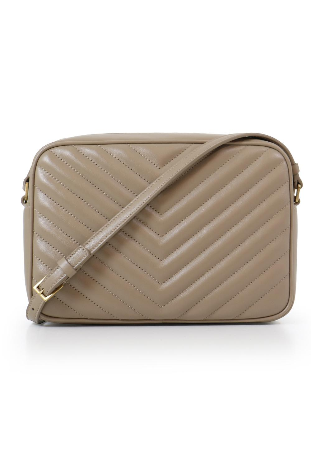 Saint Laurent Leather Lou Quilted Camera Bag Dusty Grey