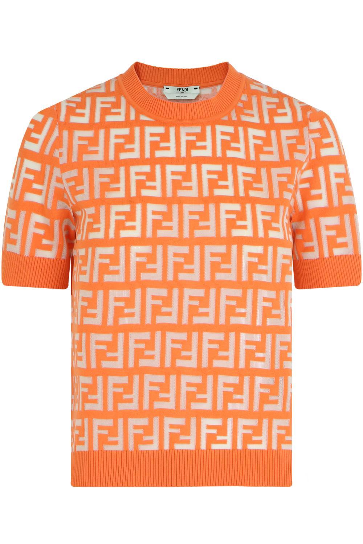 b4b194dd9059f Lyst - Fendi S s Logo Crop Knit Top Kumquat