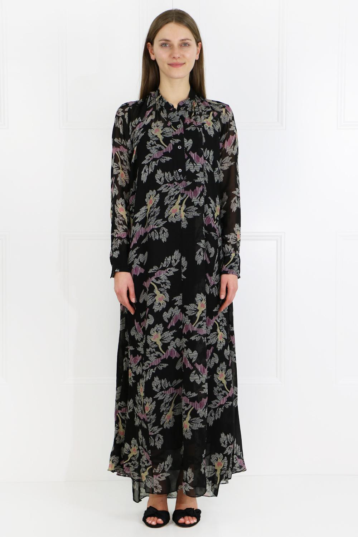 Isabel Marant Synthetic Etoile Joly Rock'n Roll Print Maxi Dress L/s Black