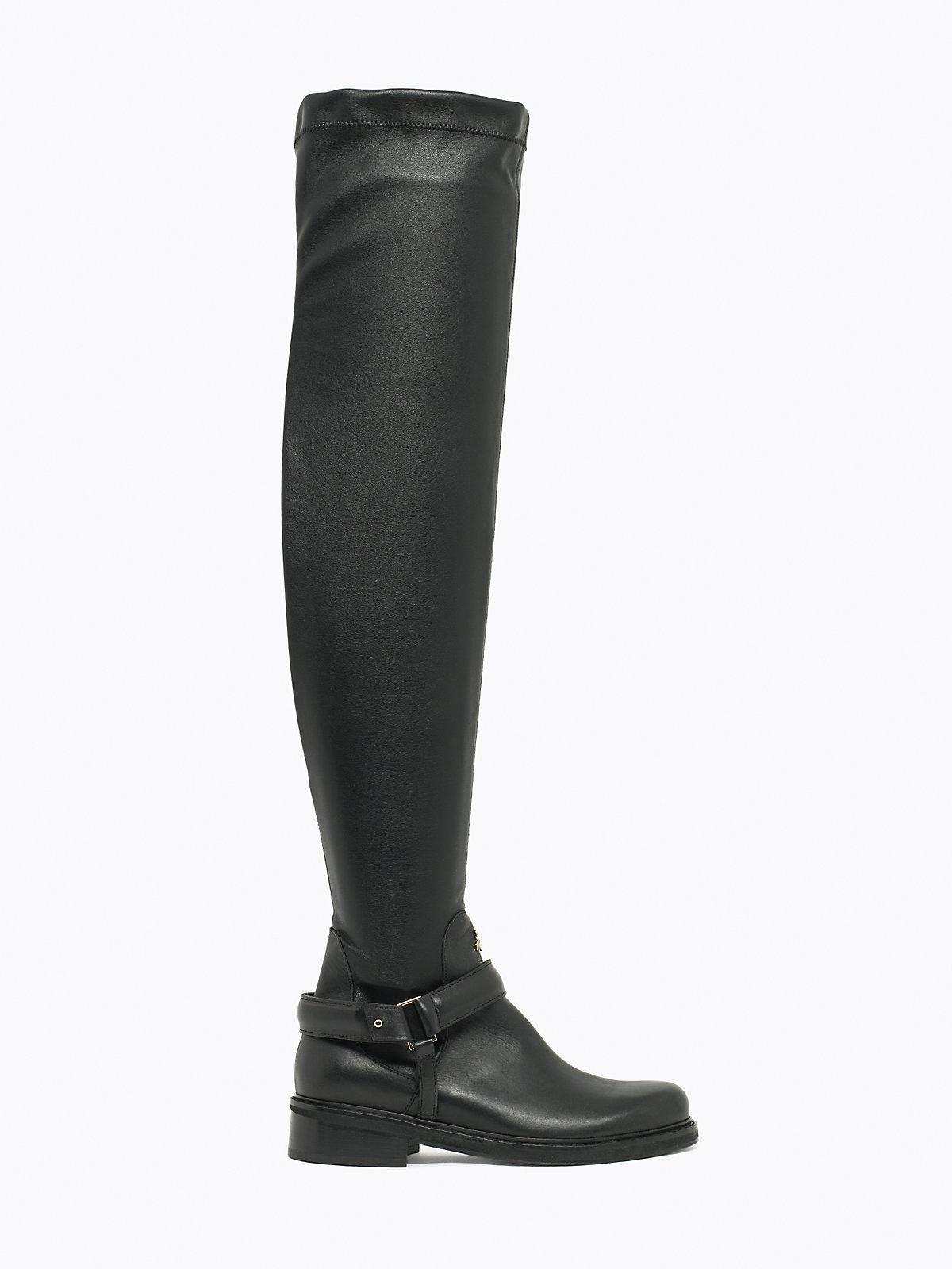 patrizia pepe thigh high biker boots in multicolour lyst
