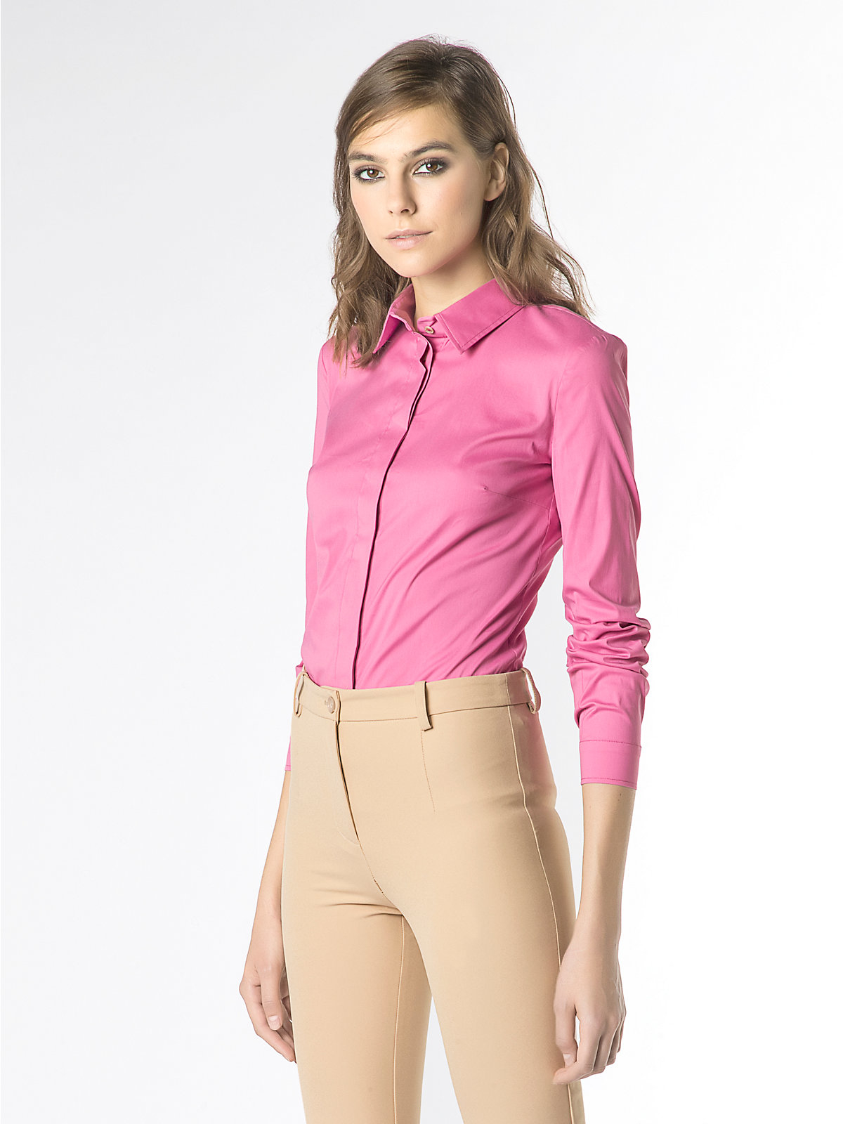patrizia pepe body slim fit shirt in stretch cotton poplin in pink wild pink lyst. Black Bedroom Furniture Sets. Home Design Ideas