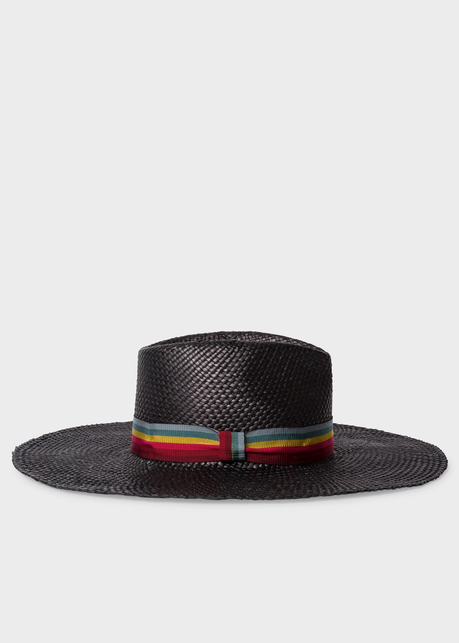 204729be Lyst - Paul Smith Black Woven Fedora Hat With 'swirl-stripe' Band in ...
