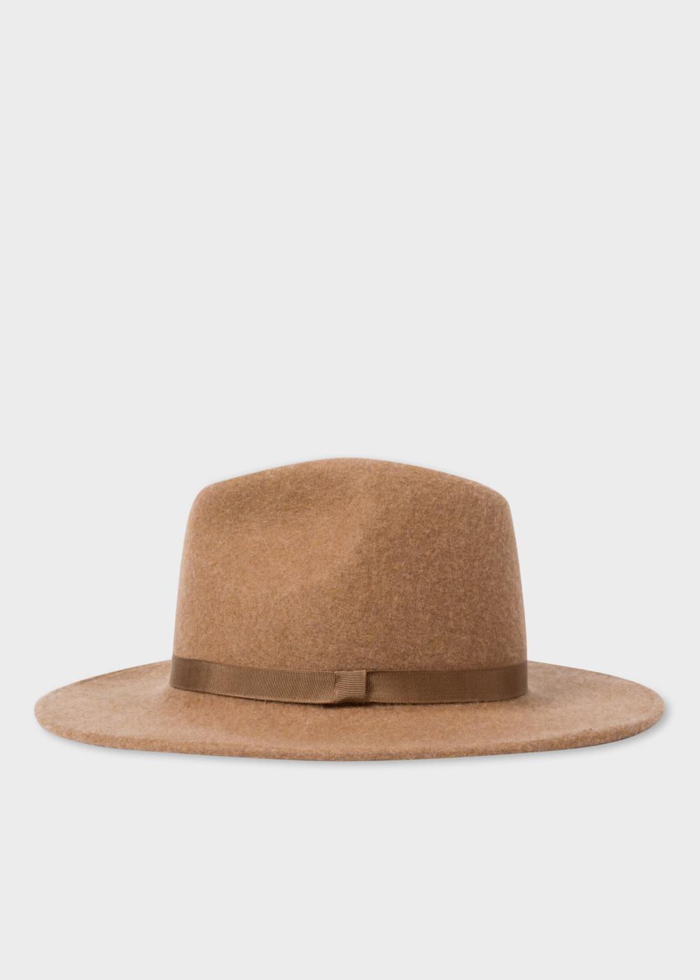 3d6867f21e37c5 Paul Smith Women's Tan Lined Wool Fedora Hat in Brown - Lyst
