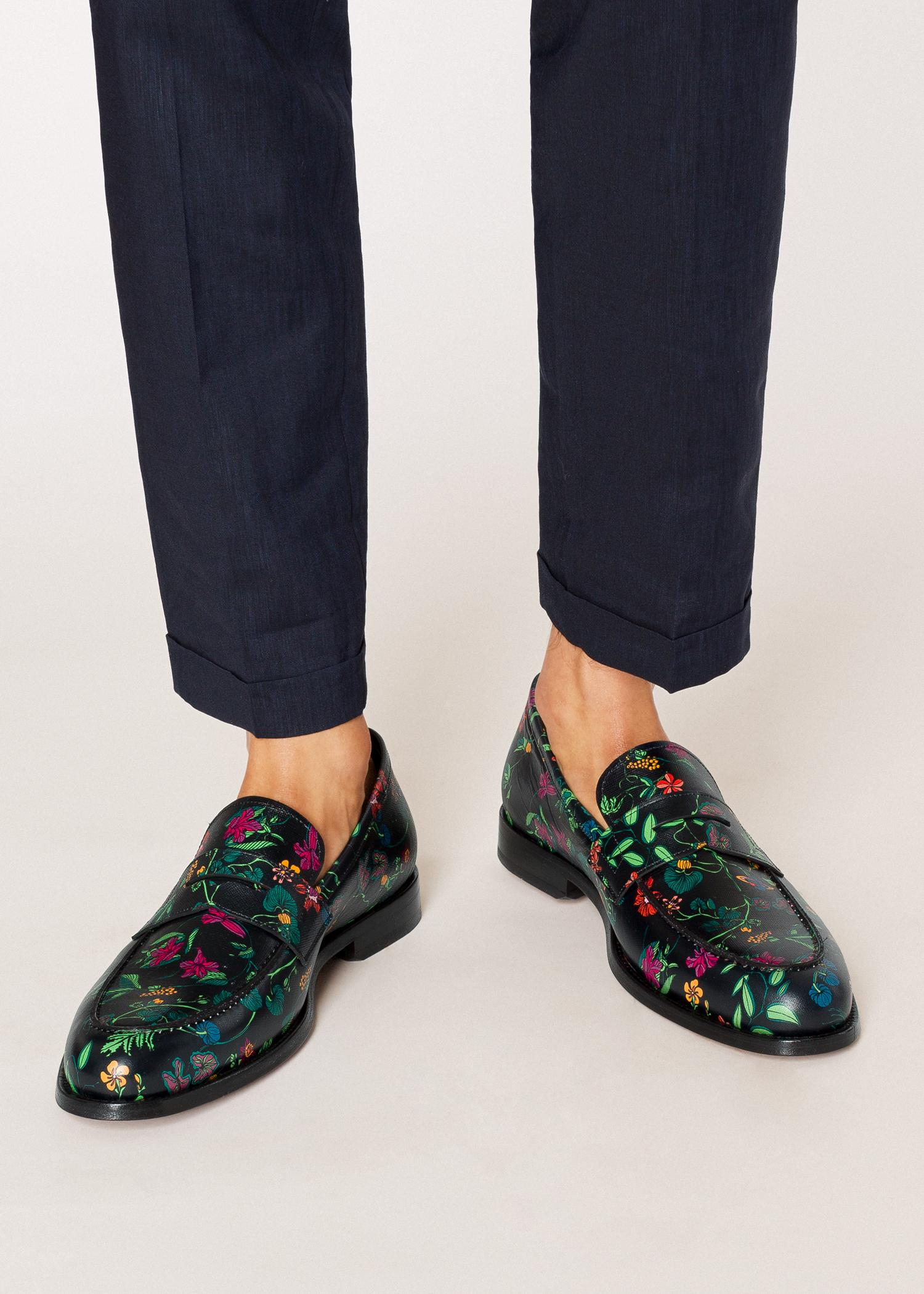 c12d487cdaf Paul Smith - Black  explorer Floral  Print Leather  wolf  Loafers for Men.  View fullscreen