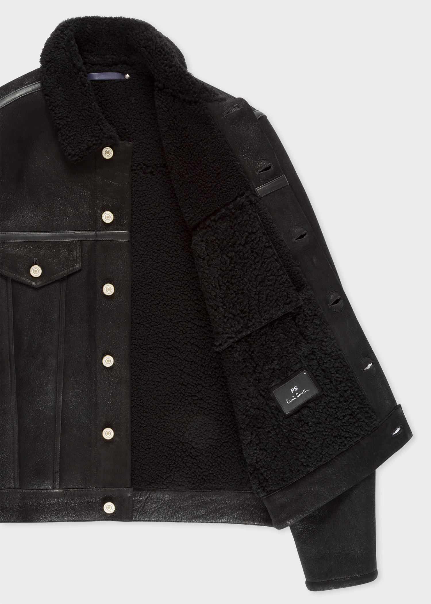 Paul Smith Leather Black Shearling Jacket for Men
