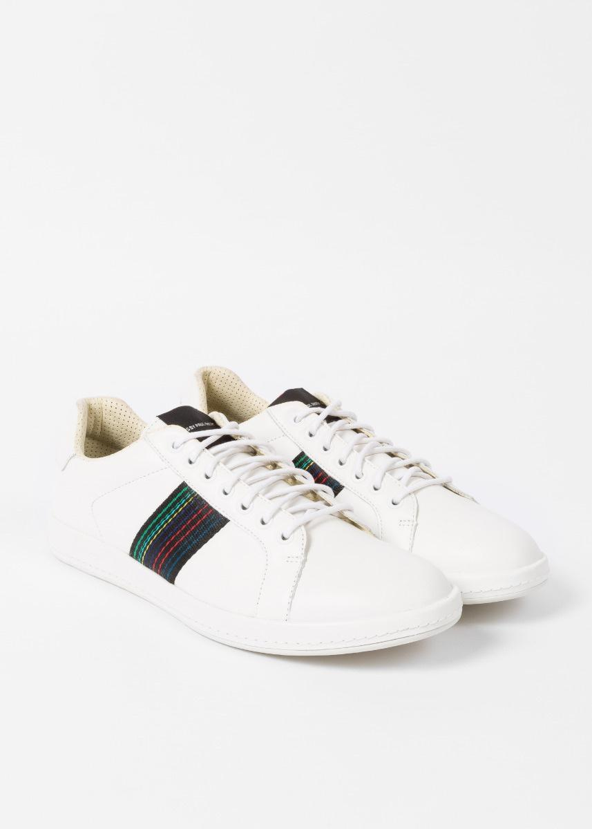 8e5437a331 Paul Smith Men's White Leather 'lapin' Trainers With Striped Webbing for men