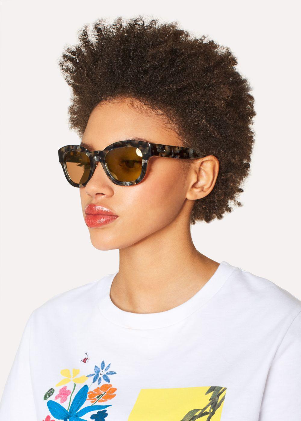 Paul Smith Brown Confetti And Peach Gold Mirror 'dennett' Sunglasses