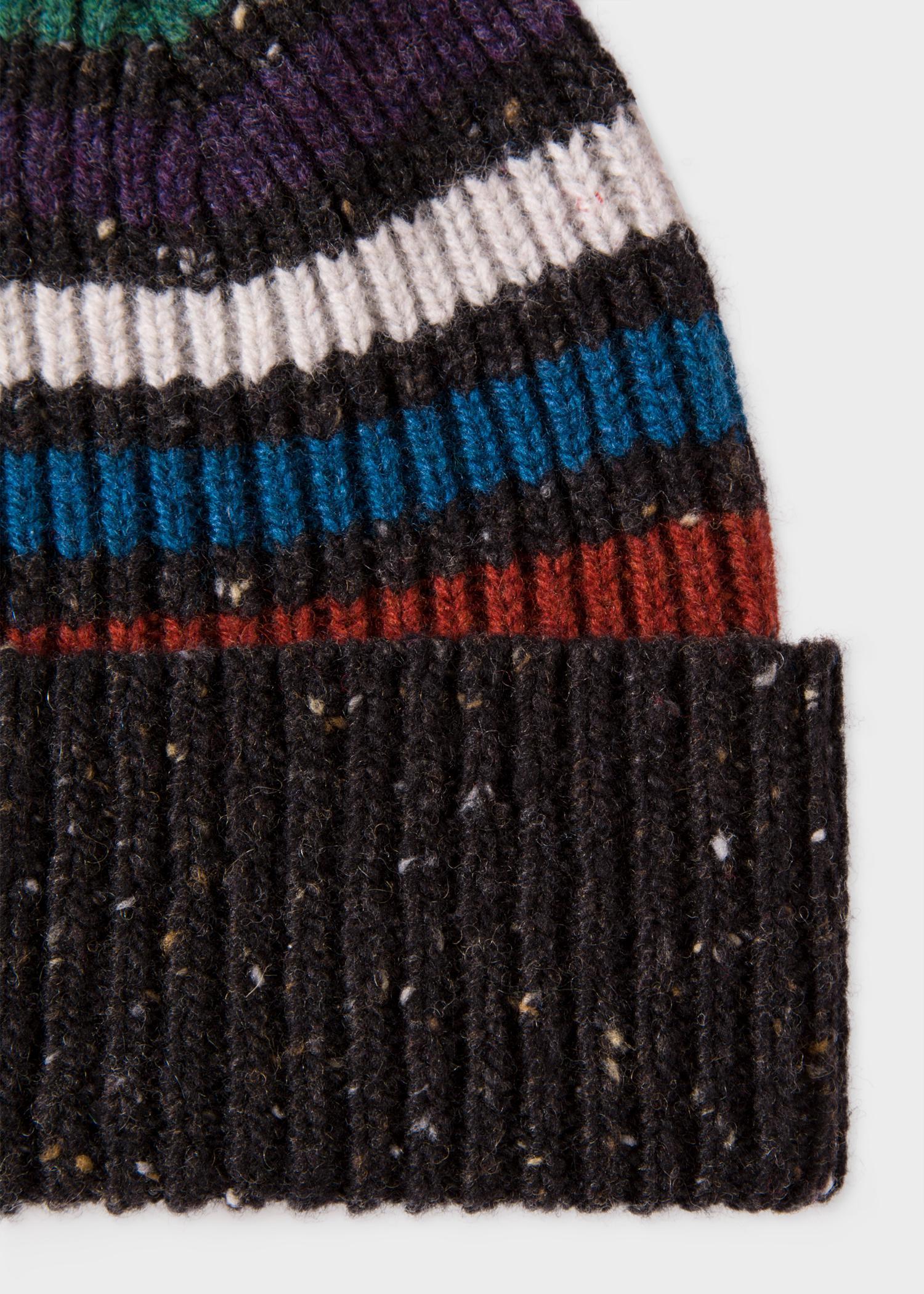 f30ea69190b Lyst - Paul Smith Black Donegal Stripe Wool Beanie Hat in Black for Men