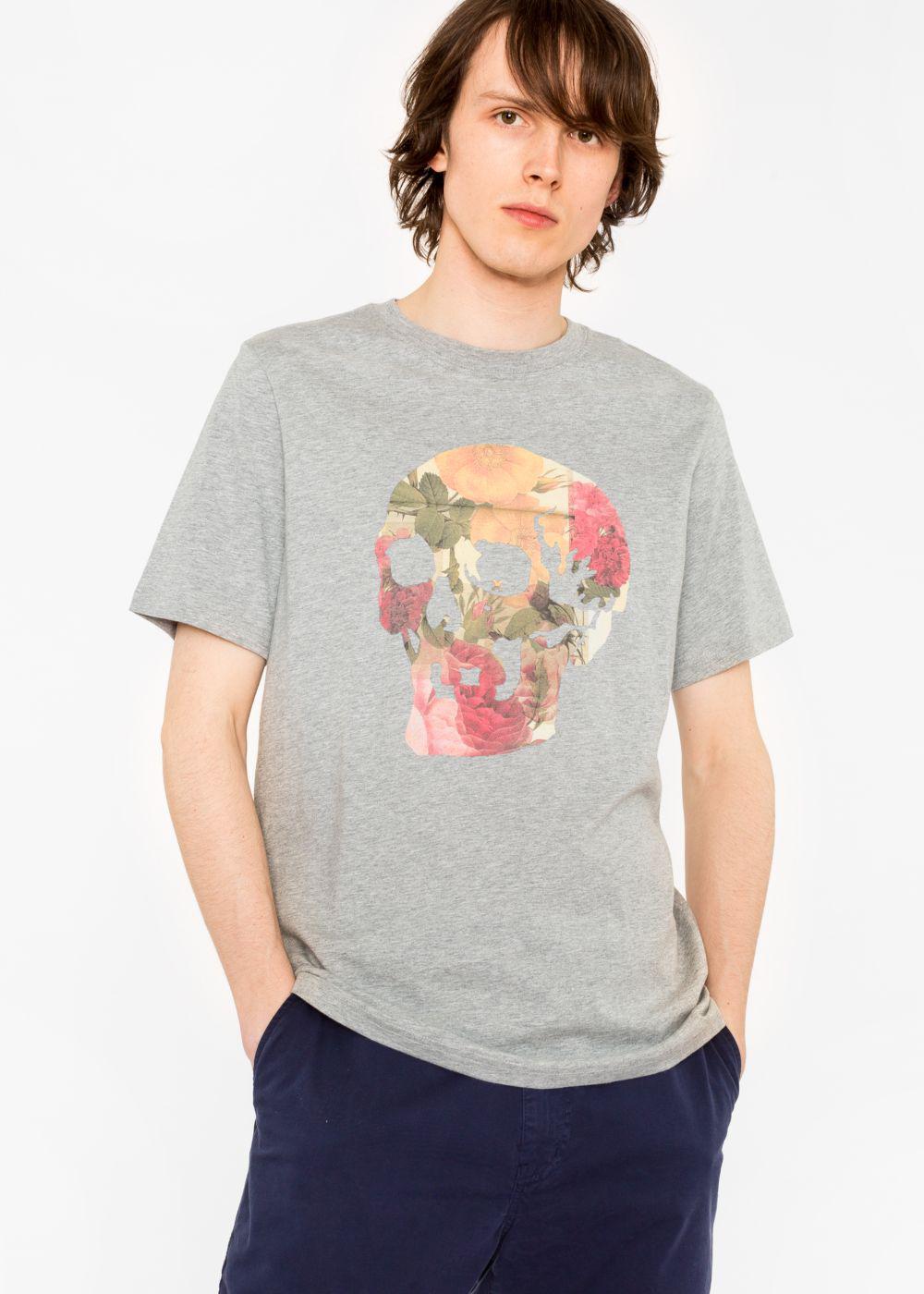 Paul smith men 39 s grey 39 floral skull 39 print organic cotton for Organic cotton t shirt printing