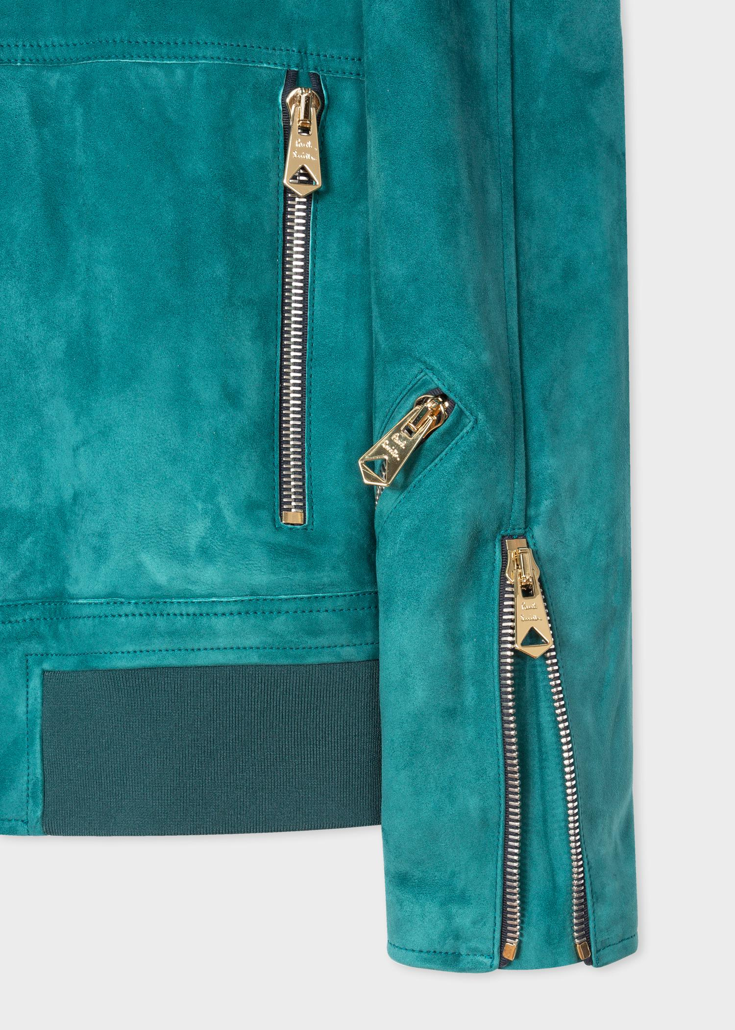 Paul Smith Teal Suede Bomber Jacket in Blue for Men