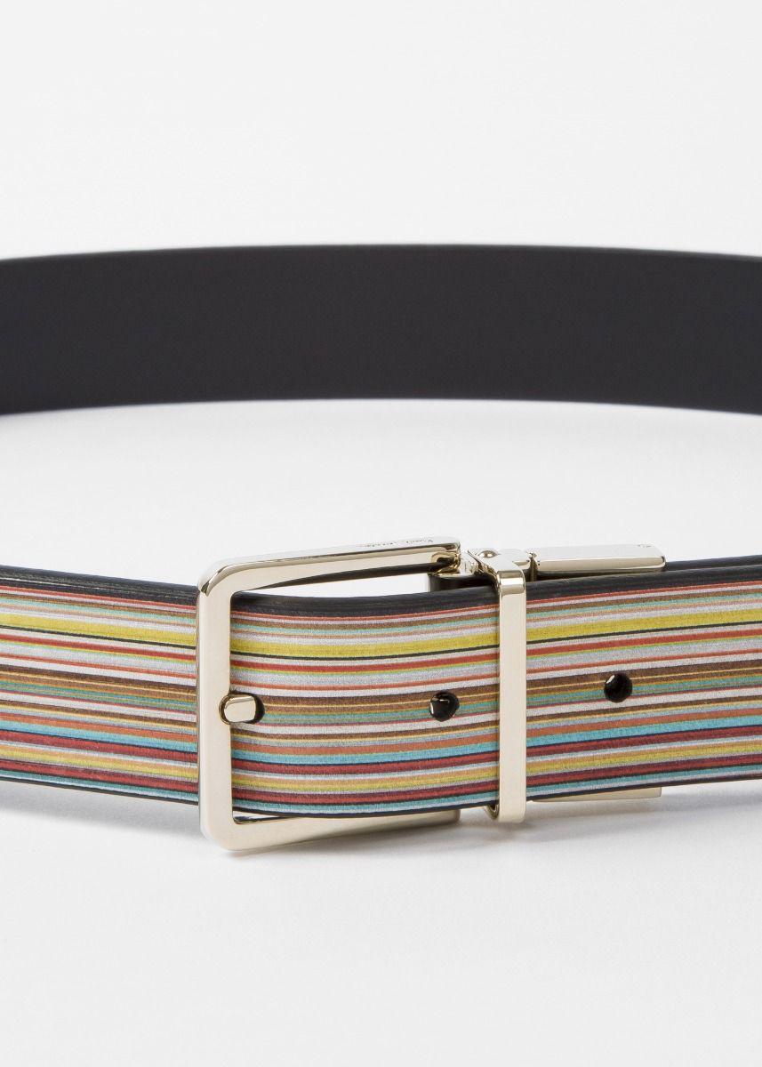 "PAUL SMITH Black /& Multi Stripe Leather Cut-to-Fit Reversible 36/"" inch Belt Kit"