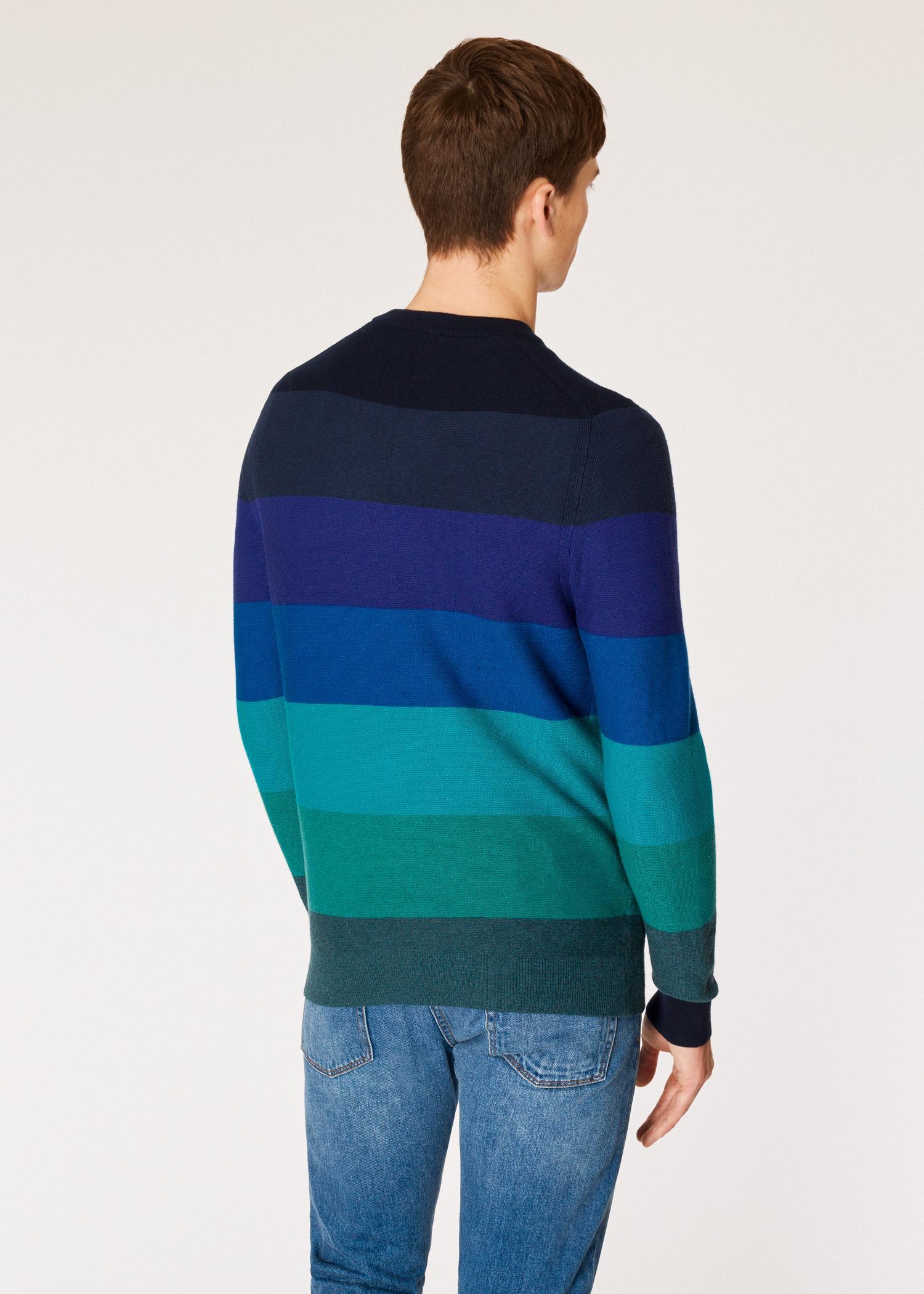 d6f78cd867391 ... Blue Tonal Stripe Crew Neck Wool-blend Sweater for Men - Lyst. View  fullscreen