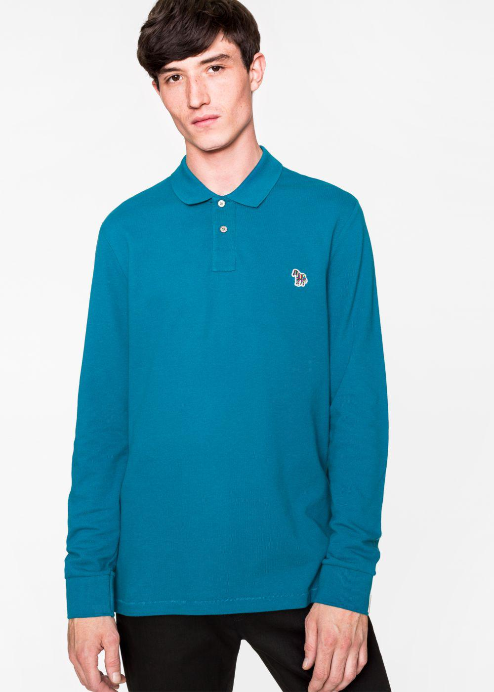 Lyst paul smith men 39 s teal organic cotton zebra logo for Mens teal polo shirt