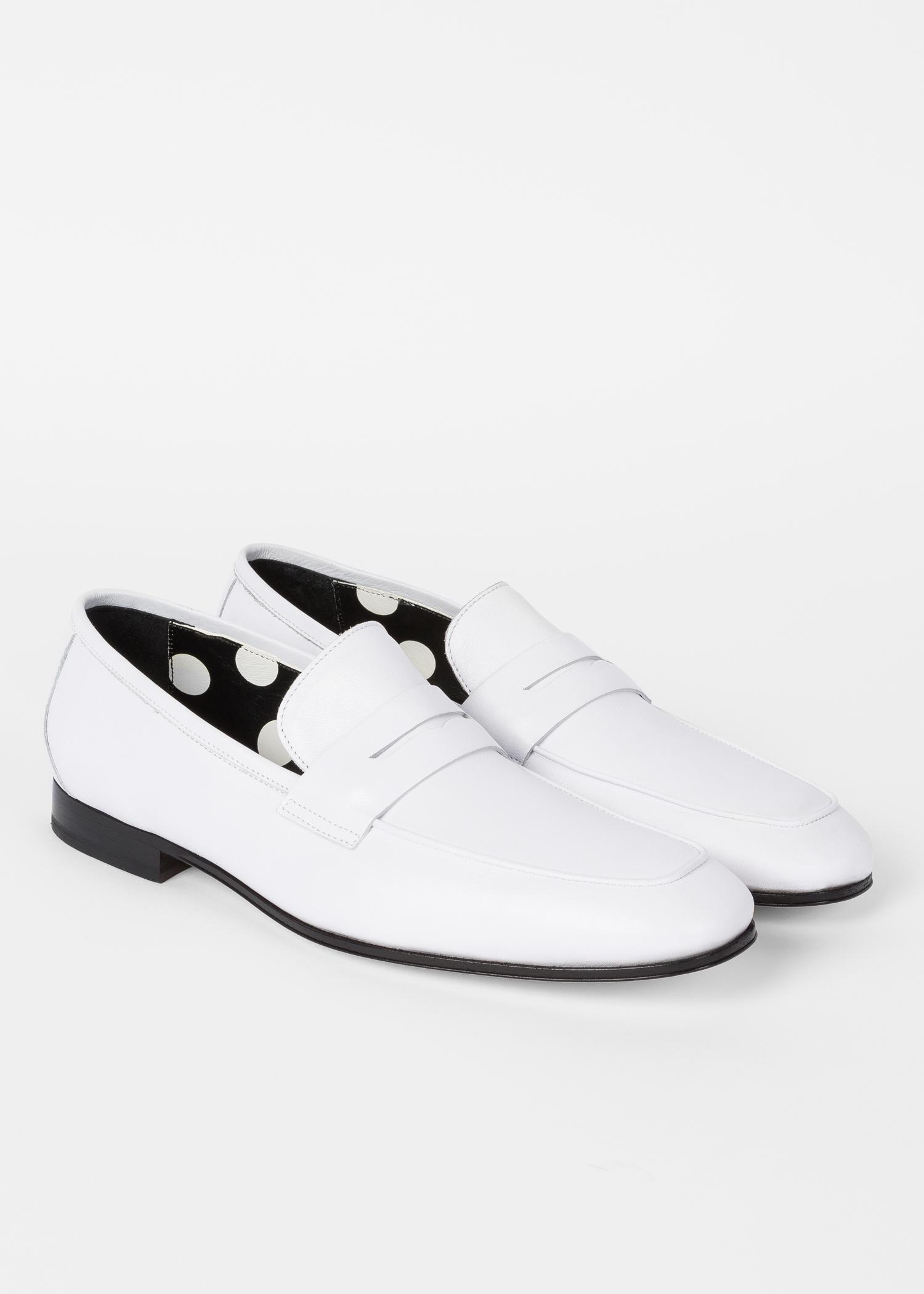 Paul Smith White Leather 'glynn' Penny Loafers for Men - Lyst