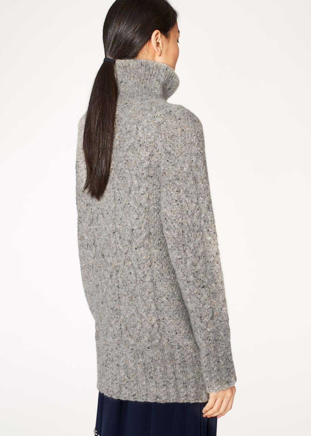 Paul smith Women's Oversized Grey Cable Knit Wool-Mohair High-Neck ...