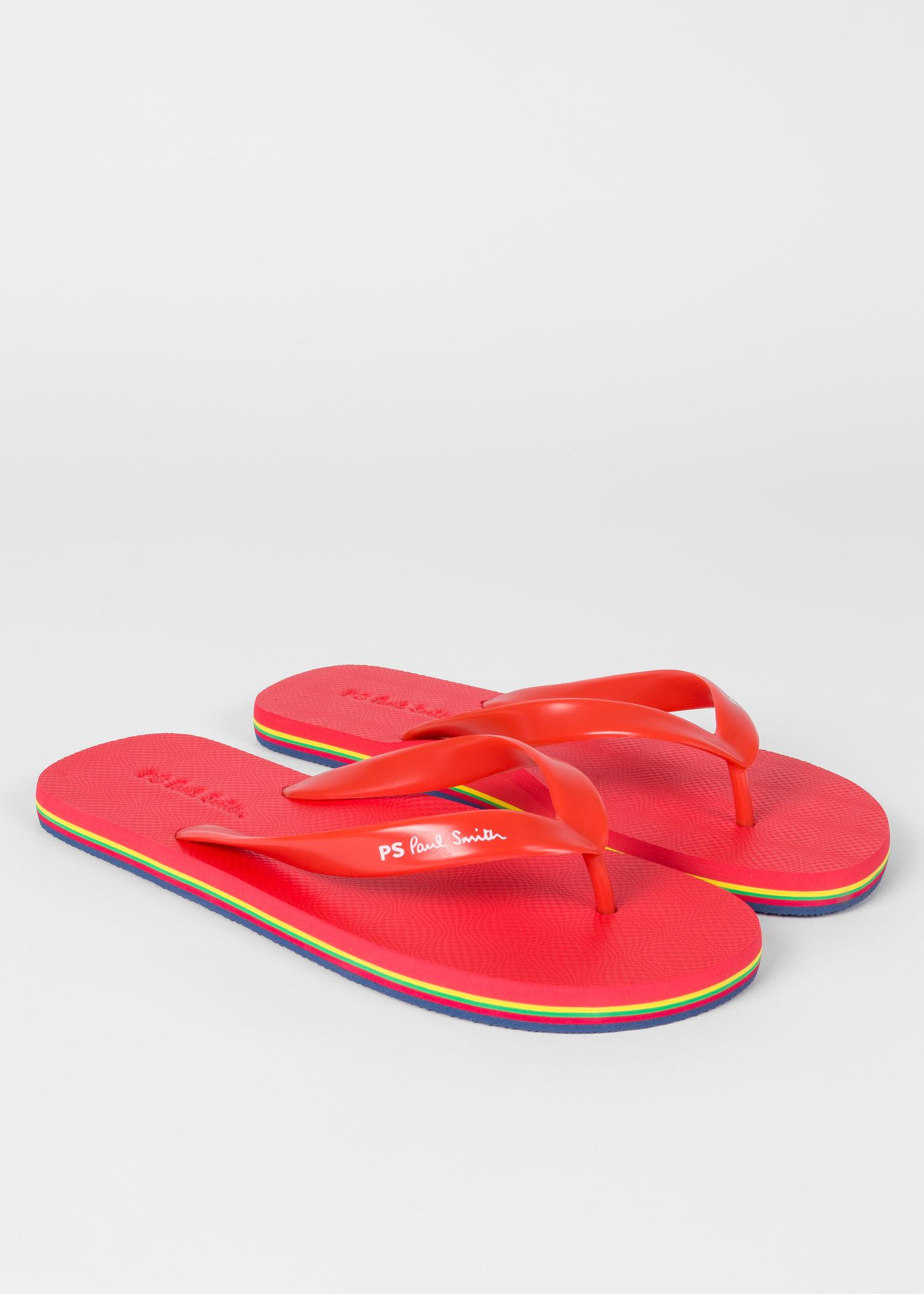Paul Smith Rubber Red Dale Flip Flops With Multi -2414
